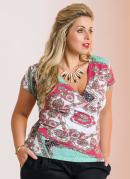 Blusa Decote V Estampa Lenço Plus Size
