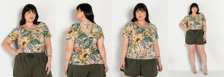 Blusa Floral Bege com Amarração Plus Size
