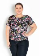 Blusa Floral com Gota nas Costas Plus Size