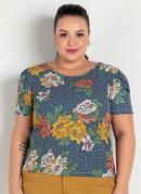 Blusa Floral e Poá Mangas Bufantes Plus Size