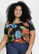 Blusa Folhagem Decote Costas com Tiras Plus Size