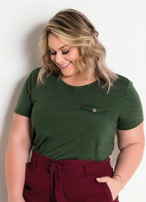 Blusa Lapela Decorativa (Verde Militar) Plus Size