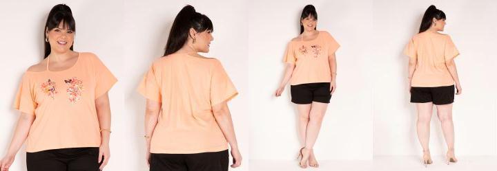 Blusa Laranja com Estampa na Frente Plus Size