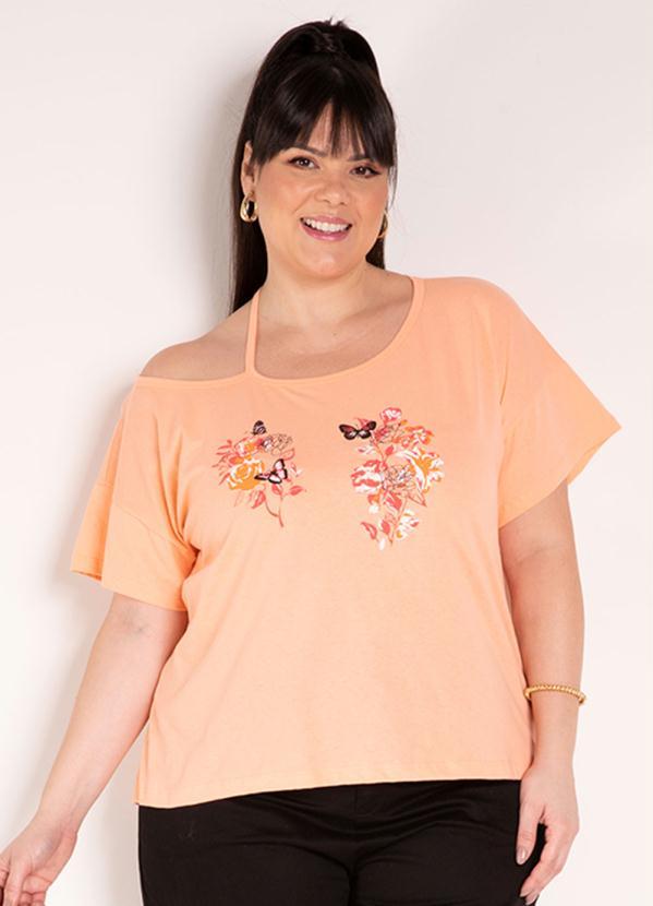 Blusa (Laranja) com Estampa na Frente Plus Size