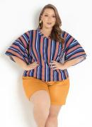 Blusa Listrada com Babados Plus Size
