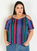 Blusa Listrada com Ombros Vazados Plus Size