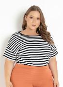 Blusa Listrada com Pregas Plus Size
