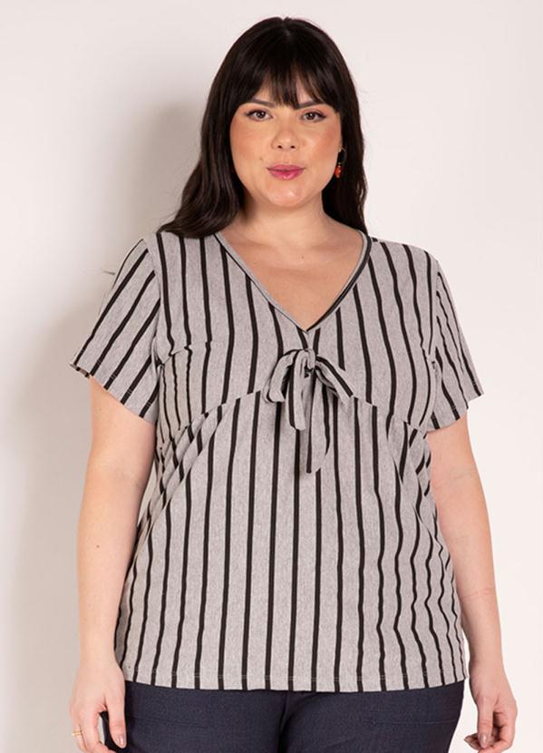 Blusa (Listrada Mescla) com Amarração Plus Size