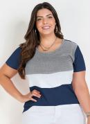 Blusa Marinho com Constrastes Plus Size