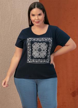 Blusa (Marinho) com Estampa na Frente Plus Size