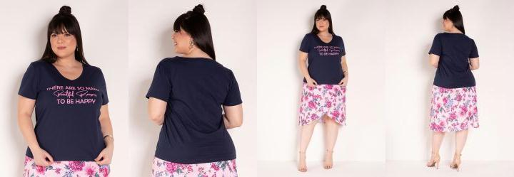 Blusa Marinho com Estampa na Frente Plus Size