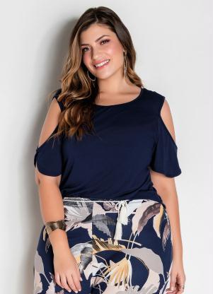 Blusa (Marinho) com Ombros Vazados Plus Size
