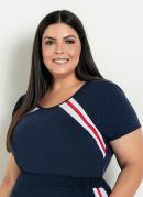 Blusa Marinho com Recortes na Frente Plus Size