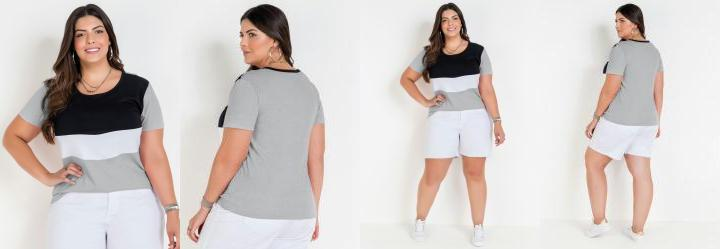 Blusa Mescla com Contrastes Plus Size