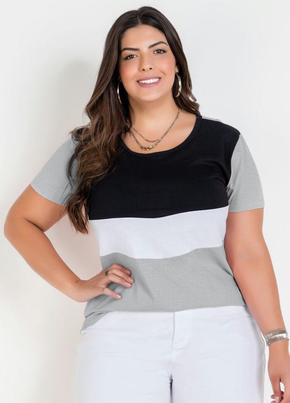 Blusa (Mescla) com Contrastes Plus Size