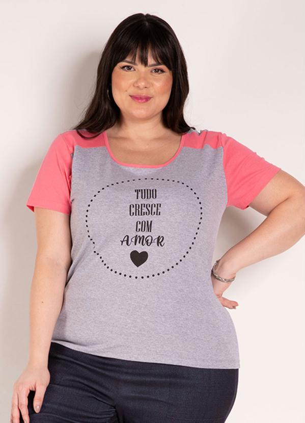 Blusa (Mescla e Rosa) com Estampa Plus Size
