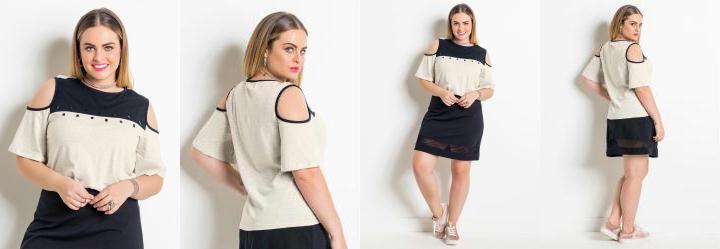 Blusa Off White e Preto Plus Size Quintess