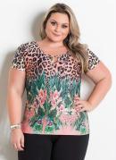 Blusa Onça e Floral com Vazado no Decote