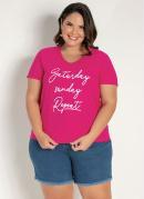 Blusa Pink com Estampa com Brilho Plus Size