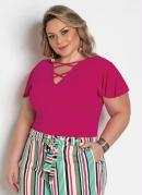 Blusa Pink com Tiras no Decote Plus Size