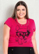 Blusa Pink Plus Size com Pedrarias Quintess