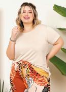 Blusa Plus Size Bege com Cordel para Franzir