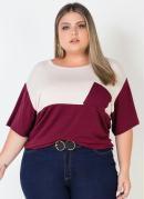 Blusa Plus Size Bicolor Bege/Bordô