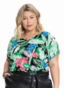 Blusa Plus Size Floral Big Ampla