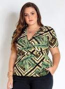 Blusa Plus Size Geométrico e Folhas com Decote V