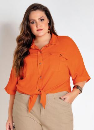Blusa Plus Size (Laranja) com Amarração Frente
