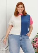 Blusa Plus Size Multicolor com Recorte