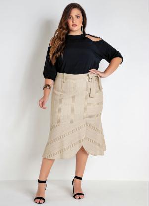 Blusa Plus Size (Preta) com Ombros Vazados