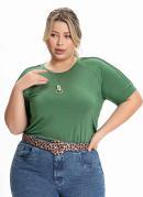 Blusa Plus Size Verde Militar com Nervuras