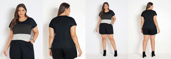 Blusa Poá e Preta Plus Size