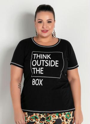 Blusa (Preta) com Costura Contrastante Plus Size