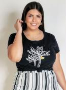 Blusa Preta com Estampa Plus Size