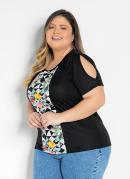 Blusa Preta com Recorte Estampado Plus Size