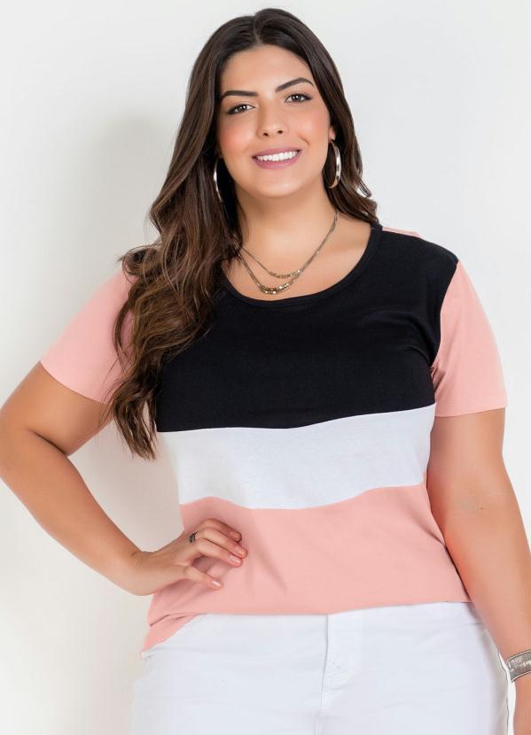 Blusa (Rosa) Tricolor Plus Size