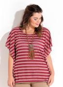Blusa Soltinha Listrada Plus Size Quintess
