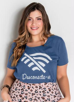 T-Shirt (Azul) com Estampa Frontal Plus Size