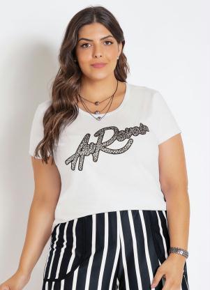 T-Shirt (Branca) Plus Size com Bordado em Francês