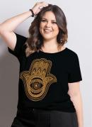 T-Shirt Marguerite Preta Plus Size
