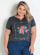 T-Shirt Mescla Chumbo com Estampa Floral