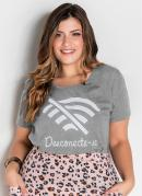 T-Shirt Mescla com Estampa Frontal Plus Size