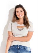 T-Shirt Mescla com Recorte Vazado Plus Size