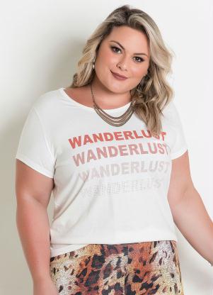 T-Shirt (Off White) Plus Size com Estampa Frontal