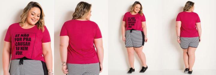 T-Shirt Pink Plus Size com Estampa de Frase