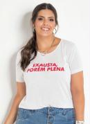T-SHIRT PLUS SIZE COM ESTAMPA FRONTAL (BRANCA)