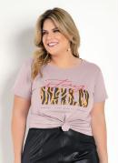T-Shirt Rosa com Estampa na Frente Plus Size