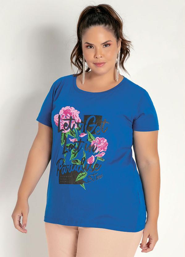 T-Shirt (Royal) com Estampa Glitter Plus Size